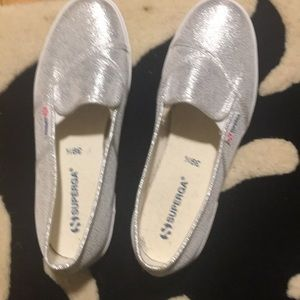 Superga silver slip on sneakers size 39.5 (9 US)